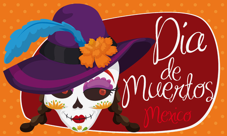 "Banner with elegant catrina wearing a fancy hat with marigold and feather for Mexican ""Dia de Muertos"" (translate from Spanish: ""Day of the Dead"") celebration with dotted background."