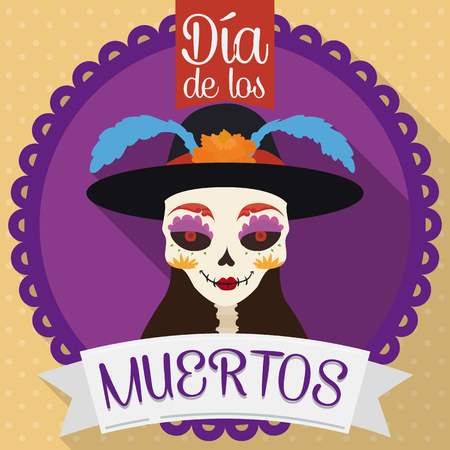 Round button with elegant catrina ready to use in Mexican tradition of Day of the Dead (Dia de Muertos in Spanish) celebration in flat style. Illustration