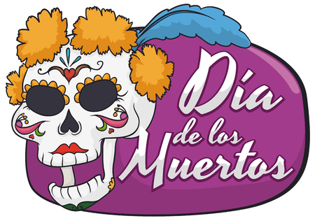 Poster with festive catrina skull with paintings, marigolds and feather ready to celebrate Mexican
