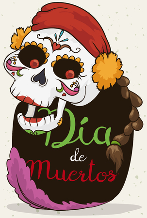 Poster with happy catrina wearing a bandana decorated with marigolds, braid and a feather with a greeting sign celebrating Mexican Dia de Muertos (translate from Spanish: Day of the Dead)  event.