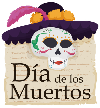 Poster with elegant catrina wearing a hat with flowers, feather and a veil over a piece of paper with literary verses commemorating Mexican Dia de Muertos (translate from Spanish: Day of the Dead). Illustration