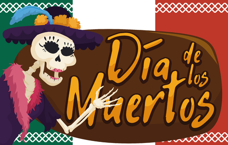 Banner with festive and elegant catrina skeleton saluting at you, dressing a elegant hat and feather scarf in Mexican