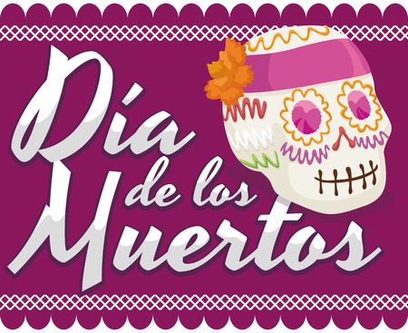 Poster with traditional sugar skull offering for Mexican Dia de Muertos (translate from Spanish: Day of the Dead) celebration over a purple tissue paper decoration.