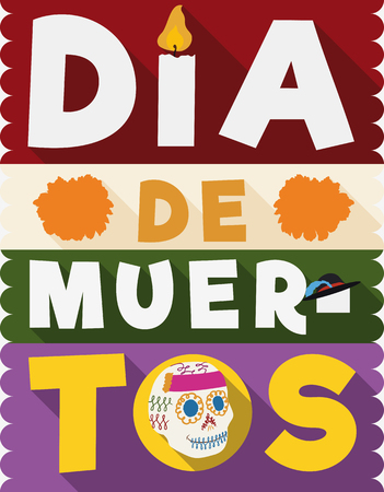 Poster commemorating Dia de Muertos (translate from Spanish: Day of the Dead) with representative elements of this holiday: candle, marigolds, catrinas hat and sugar skull.