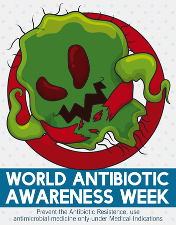 Poster with super bacteria destroying the medical barriers in a call to action in World Antibiotic Awareness Week to create a responsible habit in the use of antimicrobial medicine.