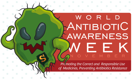 Banner with warning about super bacteria in World Antibiotic Awareness Week with message about the appropriate use of this medicine.