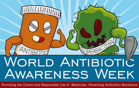 Banner with epic fight between super bacteria and medicine bottle in commemorative design for World Antibiotic Awareness Week.