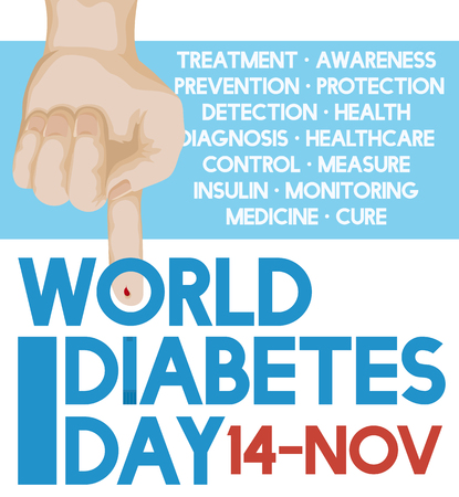 hyperglycemia: Poster with hand with pricked finger and some precepts for World Diabetes Day to promote the awareness of this disease. Illustration