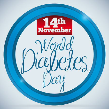 commemoration day: Commemorative poster with blue circle and reminder date of World Diabetes Day.