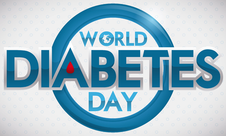 Commemorative banner for World Diabetes Day with shiny blue circle and greeting message.