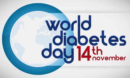 Banner with commemorative design to remind you the World Diabetes Day in November 14.