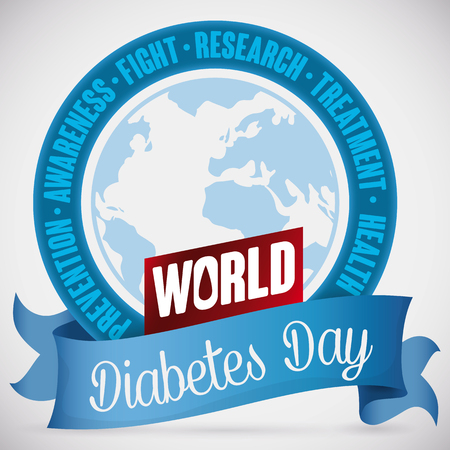 sugar metabolism: Rounded button with commemorative values around a globe for World Diabetes Day, decorated with a greeting blue and red ribbon with blood drop.