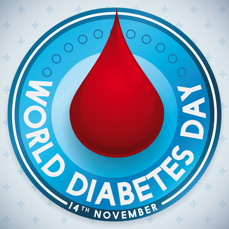 hyperglycemia: Round label with blood drop design to take care of your health in World Diabetes Day.
