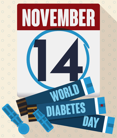 hyperglycemia: Calendar with reminder date of World Diabetes Day with some test strips and lancet for glucometer to control the glucose level.