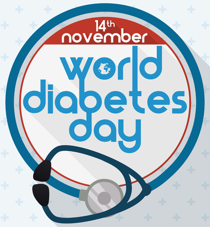 hyperglycemia: Commemorative design with stethoscope like blue circle, symbol for World Diabetes Day in flat style, long shadow effect and medical cross pattern background. Illustration