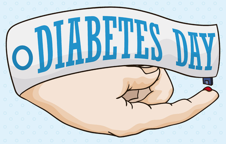 Commemorative poster with for World Diabetes Day with a ribbon and an hand teaching you how to measure your glucose level.