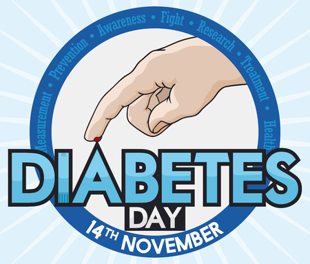 commemoration day: Commemorative round button with medical values around it and hand with blood drop ready for glucose level test in World Diabetes Day celebration. Illustration