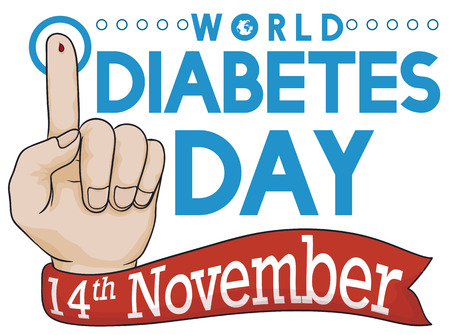 hyperglycemia: Commemorative poster with hand and finger with blood drop ready to glucose test and ribbon like wrist band to celebrate World Diabetes Day. Illustration