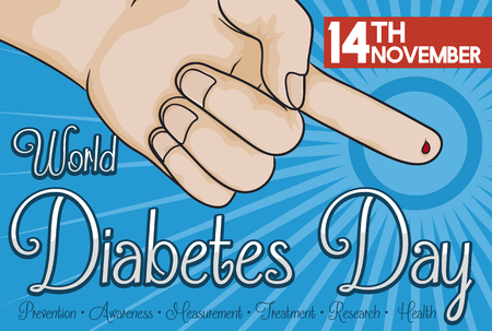 sugar metabolism: Poster with bleeding finger after the glucose measure commemorating World Diabetes Day care in patients.