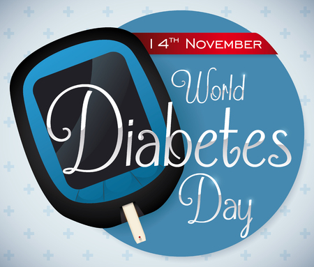Poster with glucometer and reminder date message for World Diabetes Day in November 14 over a cross pattern background. 矢量图像