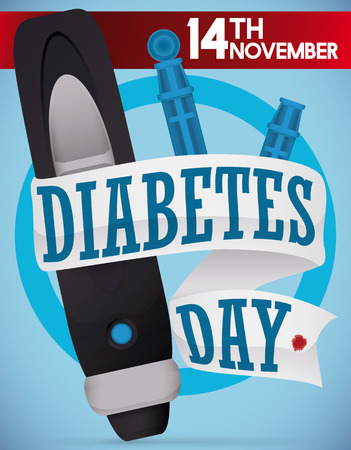 hyperglycemia: Commemorative design for World Diabetes Day with a lancet, spare parts and a white greeting ribbon around it, and another red ribbon with date for this special date.