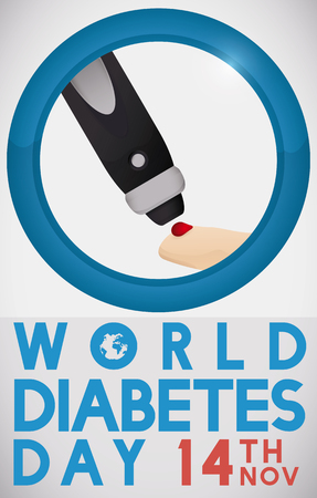 hyperglycemia: Commemorative poster for World Diabetes Day with greeting message, date, blue circle and a lancet pricking a finger, to measure sugar levels inside of it.