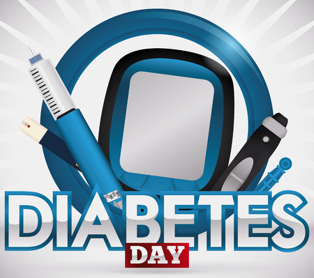 sugar metabolism: Design for World Diabetes Day with elements for measurement and treatment of this disease: glucometer, test strip, lancet, spare part and insulin injection over a blue circle.