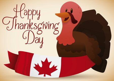 Affiche avec thanksgiving conception avec une dinde heureuse tenant un filet canadien pour célébrer cette journée spéciale . Banque d'images - 80333588