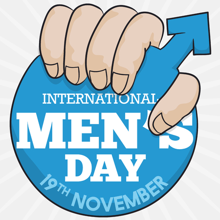 Poster with hand holding a masculine symbol in a blue label with a greeting message to celebrate International Mens Day. Ilustração