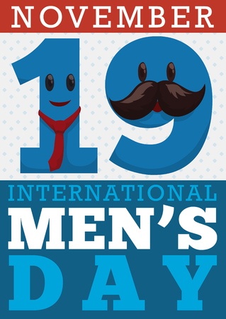 Poster with reminder date for International Mens Day with funny number nineteen disguised with mustache and necktie characters. Illustration