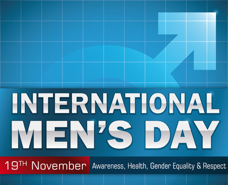 role model: Poster with greeting message and values commemorated in International Mens Day with masculine symbol in the background in water mark effect. Illustration