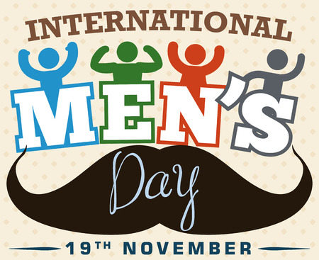 grooming: Poster in flat style and long shadows with male pictograms commemorating International Mens Day. Illustration