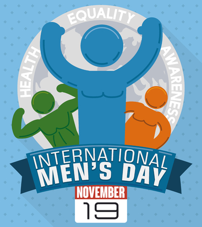 looseleaf: Poster with various men pictograms celebrating their differences in International Mens Day with a reminder loose-leaf calendar indicating the date: November 19. Illustration