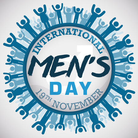 Commemorative button with different masculine shapes around it celebrating International Mens Day. Illustration