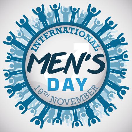 Herdenkingsknoop met verschillende mannelijke vormen rond het viert Internationale Dag van de Mens.