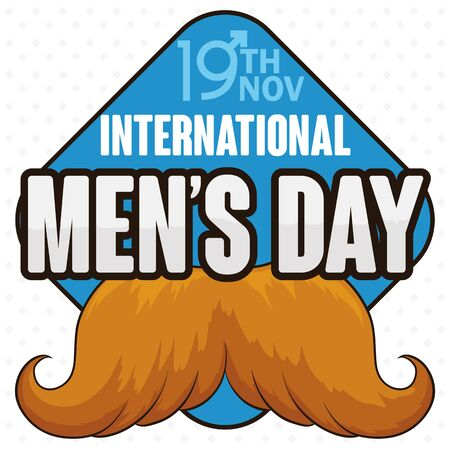 grooming: Poster with blond masculine mustache design in a signal with reminder date of International Mens Day in November 19.