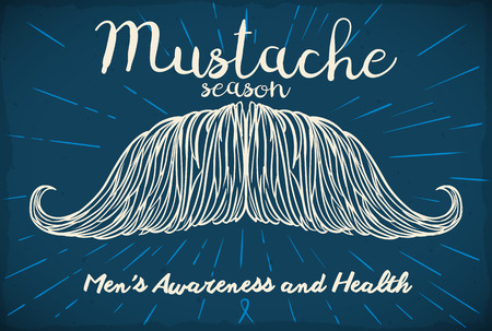 Poster with hand drawn mustache design to support campaign for mens awareness and health. Ilustração