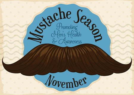 Postcard with giant mustache promoting the growth of facial beard in November for a good cause: awareness of mens health issues.