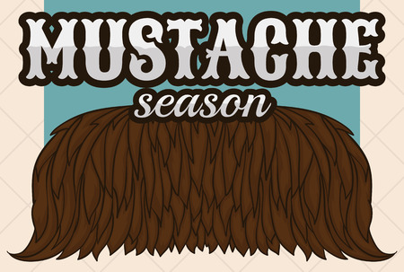 Retro poster with a brown stamp with hand drawn facial beard for mustache season in November. Illustration