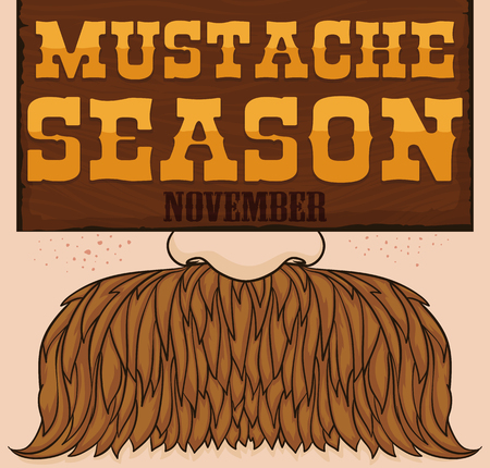 Western style poster with a face and a blond mustache, freckles and a wooden sign promoting mustache season.