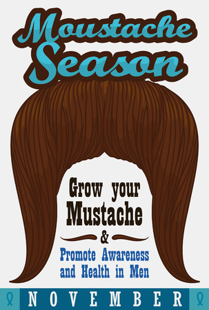 grooming: Poster with long ginger mustache promoting the precepts of mustache season for mens health and awareness.