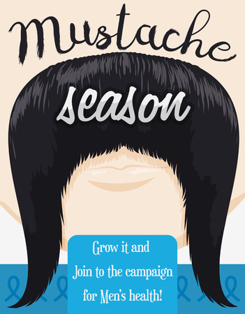 activism: Poster with face growing a long mustache promoting the awareness and care of masculine health issues like prostate cancer.