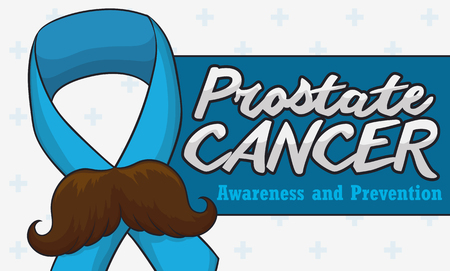 Banner with funny mustached ribbon and sign for Prostate Cancer awareness campaign over a white background with cross pattern.