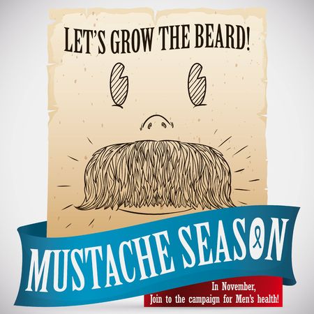 male grooming: Cute retro drawing with a smiling face with a big mustache promoting the beard growth in November for awareness in mens health.