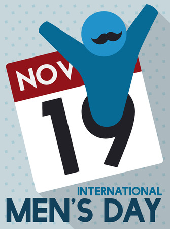 grooming: Flat design for International Mens Day with male pictogram symbol and mustache coming out from the loose-leaf calendar. Illustration