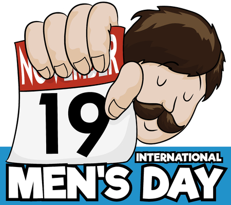 Poster with proud bearded man holding a loose-leaf calendar with the date of International Mens Day.