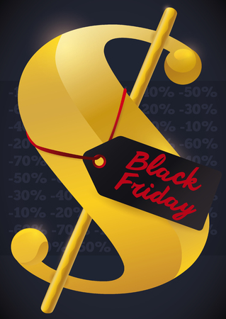 Poster with giant golden money symbol with a discount label of Black Friday and offers in the background.