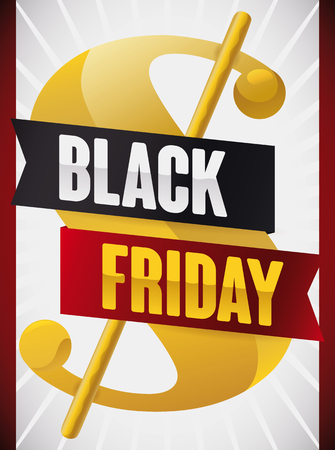 adverts: Poster for Black Friday with a golden money symbol and dark and red ribbons announcing this day offers.