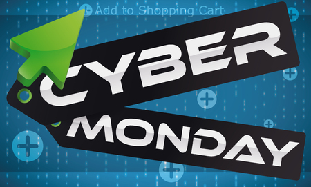 adverts: Banner with Cyber Monday message in a dark price tags with a green pointer adding purchases with discounts to the shopping cart.