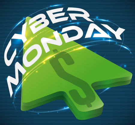 glows: Poster with holographic greeting text around a giant green pointer with money sign representing the online sales and offers for Cyber Monday.